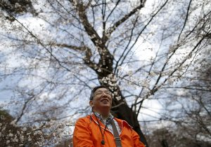 "61-year-old Masahiko Sato, who has become a kind of ""poster boy"" for Japan's growing number of people with dementia, strolls during a cherry blossom viewing event at Omiya park in Omiya, north of Tokyo, Japan, March 27, 2016. Encouraging people with dementia to speak out is part of Japan's effort to ease the negative image of a disorder that affects nearly 5 million citizens and is forecast to affect 7 million, or one in five Japanese age 65 or over, by 2025. REUTERS/Issei Kato  SEARCH ""JAPAN DEMENTIA"" FOR THIS STORY. SEARCH ""THE WIDER IMAGE"" FOR ALL STORIES? - RTX2A11D"